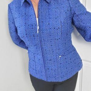 Coldwater Creek Blue Tweed Zip Front Jacket SZ P12